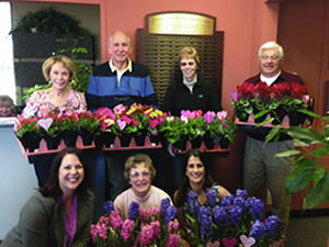 Photo of the Clayton Valley Garden Club and the beautiful plants they donated for our patients on Valentines Day